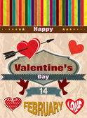 Vintage retro love banner with hearts — Stock Vector