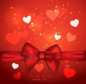 Holiday red background with bow and hearts — Stock Vector
