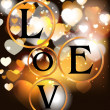Holiday gold background with hearts and letters LOVE — Imagen vectorial