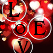 Holiday red background with hearts and letters LOVE — Imagen vectorial