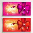 Holiday vector greeting cards with silk bows — Векторная иллюстрация