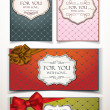 Set of vintage holiday cards with ribbons — Stock Vector
