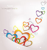 Holiday abstract background with colorful hearts — Stock Vector