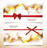 Shiny holiday banners with red bows — Stock Vector
