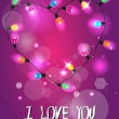 Holiday background with colorful heart shaped garland - 图库矢量图片