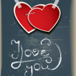 Old holiday background with hearts on scratched board.Valentine's Day — Stockvectorbeeld