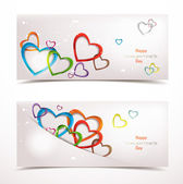 Holiday abstract banners with colorful hearts — Stock Vector