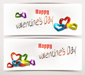 Holiday abstract banners with colorful 3D hearts — Stock Vector