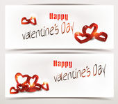 Holiday banners with red 3D hearts — Stock Vector