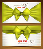 Holiday elegant banners with green ribbons and bows — Stock Vector
