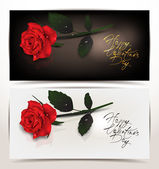 Elegant holiday banners with red realistic rose — Stock Vector