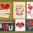 Collection of valentine's day retro cards — Vecteur