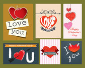 Collection of valentine's day retro cards — Stock Vector