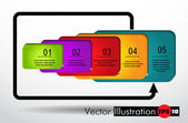 Plantilla de diseño moderno de banner infografía numerada — Vector de stock