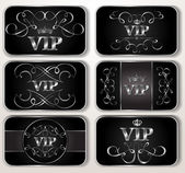 Set of vintage silver Vip cards with floral pattern — Stok Vektör
