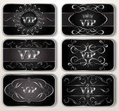 Set of vintage silver Vip cards — Stock Vector