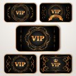 Set of vintage Vip cards with floral pattern — Imagen vectorial