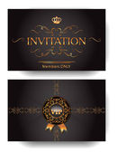 Invitation VIP envelope with gold design elements — Stock Vector