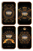 Set of vertical VIP gold cards — Stock Vector