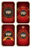 Set of vertical VIP gold red cards — Stock Vector