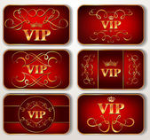 Set of vintage red Vip cards — Stock Vector