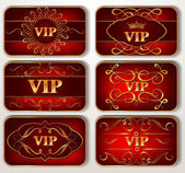 Set of vintage red Vip cards with floral pattern — Stock Vector