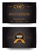 VIP invitation envelope with gold design elements — Stock Vector