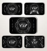 VIP platinum cards with calligraphic design elements — Stock Vector
