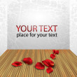 Vector de stock : Room interior with white wall and wood floor with rose petals and place for text