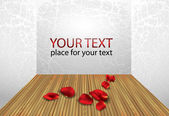 Room interior with white wall and wood floor with rose petals and place for text — Cтоковый вектор
