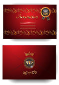 VIP invitation envelope with floral pattern on the red background — Stock Vector