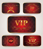 Gold VIP red elegant cards — Stock Vector