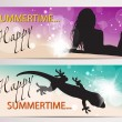 Summer horizontal banners with silhouettes - Stock Vector