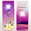 Stock Vector: Holiday summer violet banners