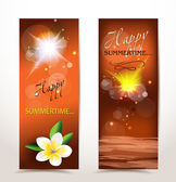 Holiday summer evening banners — Stock Vector