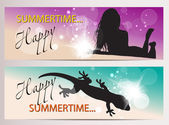 Summer horizontal banners with silhouettes — Stock Vector