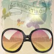 Vintage summer poster with sunglasses and butterflies — 图库矢量图片