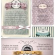 Collection of vintage cards with highest and premium quality labels — Stock Vector