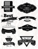 Monochrome premium and best quality labels on the vintage background — Stock Vector