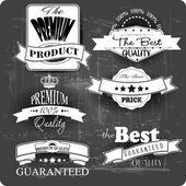 Premium quality vintage labels monochrome — Stock Vector