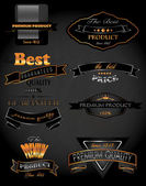 Gold and platinum premium and best quality labels on the vintage background — 图库矢量图片