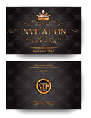 Invitation VIP envelope with gold design elements and crown — Stock Vector