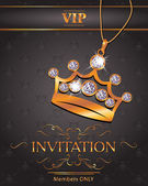 Invitation VIP card with gold crown shaped pendant with diamonds — Stock Vector