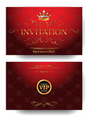 Red invitation VIP envelope with gold design elements and crown — Stock Vector