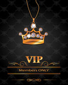 VIP background with gold crown shaped pendant with diamonds — Vector de stock