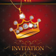 Wektor stockowy : Invitation VIP card with gold crown shaped pendant with diamonds on red background