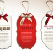 Stok Vektör: Set of vintage tags with silk bows