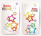 Abstract holiday banners with colorful stars — Stock Vector