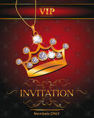 Invitation VIP card with gold crown shaped pendant with diamonds on the red background — Stok Vektör