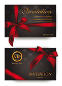Elegant invitation cards with red bows — ストックベクタ